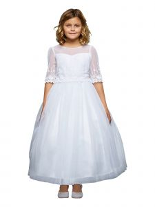 Kids Dream Big Girls White Floral Mesh Multi Layer Communion Dress 8-14