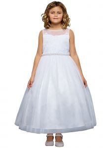 Kids Dream Little Girls White Lace Sweetheart Illusion Flower Girl Dress 4-6