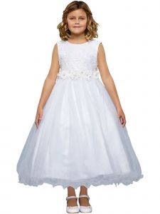 Kids Dream Little Girls White Floral Pearl Rhinestone Trim Flower Girl Dress 2-6