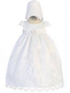 Kids Dream Baby Girls White Scalloped Embroidery Bonnet Christening Dress 6M