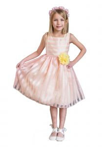 Kids Dream Little Girls Peach Yellow Stripe Flower Adorned Easter Dress 2-6