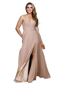 Amelia Couture Womens Taupe Pleated Bodice Fitted Waist Maxi Dress 2-18