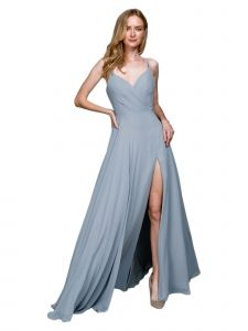 Amelia Couture Womens Blue Pleated Bodice Fitted Waist Maxi Dress 2-18