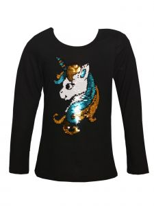 Little Girls Black Reversible Sequin Unicorn Head Applique Long Sleeve Top 4-6X