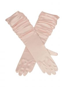 Big Girls Adult Multi Color Pleaded Satin Lace Flower Girl Gloves