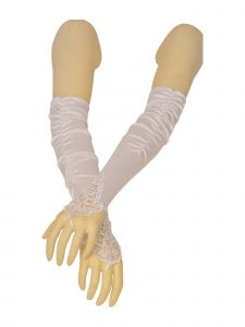 Big Girls Adult Multi Color Fingerless Pleaded Satin Lace Flower Girl Gloves