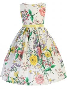 Kids Dream Little Girls White Yellow Floral Print Ribbon Easter Dress 2-6