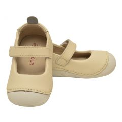 L`Amour Baby Girls Cream Leather Flexible Mary Jane Shoes 3-4 Baby