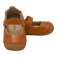 L`Amour Little Girls Tan Flexible Mary Jane Shoes 5-7 Toddler