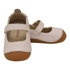 L`Amour Baby Girls White Leather Flexible Mary Jane Shoes 3-4 Baby