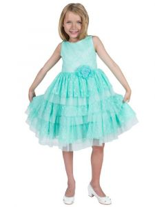 Kids Dream Big Girls Mint Lace Tulle Triple Layer Junior Bridesmaid Dress 8-12