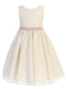 Kids Dream Big Girls Champagne Lace Sash Pearl Junior Bridesmaid Dress 8-12