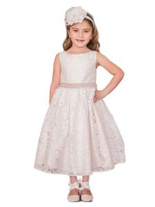 Kids Dream Girls Multi Color Lace Sash Pearl Junior Bridesmaid Dress 8-12