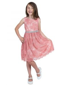 Kids Dream Little Girls Coral Strech Lace Rinestone Flower Girl Dress 2-6