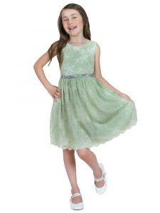 Kids Dream Little Girls Mint Strech Lace Rinestone Flower Girl Dress 2-6