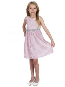 Kids Dream Little Girls Blush Strech Lace Rinestone Flower Girl Dress 2-6