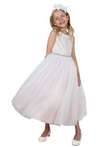 Kids Dream Girls Multi Colors Triangle Cut-Out Back Flower Girl Dress 2-14
