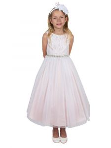 Kids Dream Big Girls Dusty Rose Triangle Cut-Out Back Flower Girl Dress 8-14
