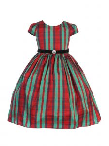 Kids Dream Big Girls Plaid Red Green Velvet Sash Christmas Dress 8-12