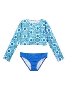 Azul Little Girls Blue White Namaste Long Sleeve Rash Guard Bikini Set 4-6