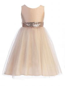 Kids Dream Little Girls Blush Sequin Glitter Tulle Flower Girl Dress 6