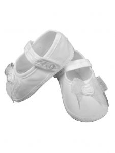 Baby Girls White Shimmery Organza Bow Christening Shoes 3 Baby