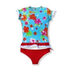 Azul Girls Red Turquoise Floral Totes Cute UPF 50+ Rash Guard 2T-10