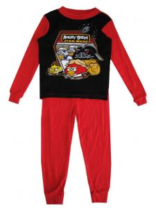Angry Birds Big Boys Black Cartoon Printed Long Sleeved 2 Pc Pajama Set 8-10