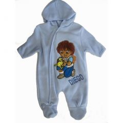 Nickelodeon Baby Boys Sky Blue Diego Applique Zipper Footed Bodysuit 3-24M