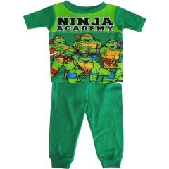 TNT Ninja Turtles Little Toddler Boys Green Academy Two Piece Pajama Set 2-4T