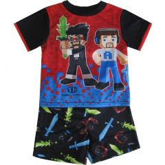 Tube Heroes Little Boys Black Red Blue Figure Print 2 Pc Sleepwear Set 4-6