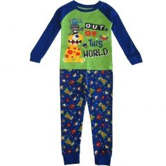 "Little Boys Blue Green Alien ""Out Of This World"" 2 Pc Sleepwear Set 2-5T"