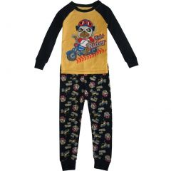 "Little Boys Black Yellow Pugg ""Night Rider"" 2 Pc Sleepwear Set 2-5T"