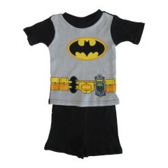 DC Comics Little Toddler Boys Black Batman Cotton Short Sleeve 2 Pc Pajama 2-4T