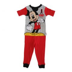 Disney Little Toddler Boys Red Mickey Mouse Cotton Short Sleeve 2 Pc Pajama 2-4T