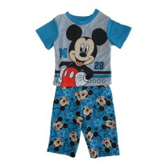 Disney Little Toddler Boys Blue Mickey Mouse Short Sleeve 2 Pc Pajama 2-4T