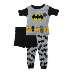 DC Comics Little Toddler Boys Grey Batman Cotton Short Sleeve 3 Pc Pajama 2-4T