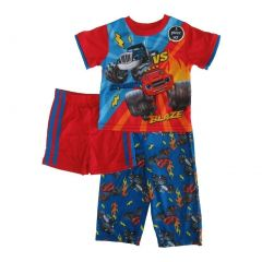 Nickelodeon Little Toddler Boys Red Blue Blaze Short Sleeve 3 Pc Pajama 2-4T