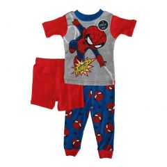 Marvel Little Toddler Boys Red Spiderman Cotton Short Sleeve 3 Pc Pajama 2-4T