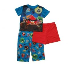 Angry Birds Little Boys Blue Red Space Short Sleeve 3 Pc Pajama Set 3-4T