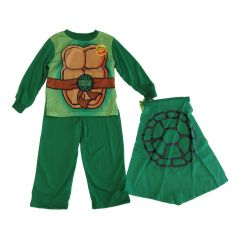 Nickelodeon Little Boys Green TMNT Long Sleeve Cape Two Piece Pajamas 2T-4T