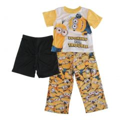 Disney Pixar Big Boys Yellow Minions Short Sleeve Three Piece Pajama Set 4-12