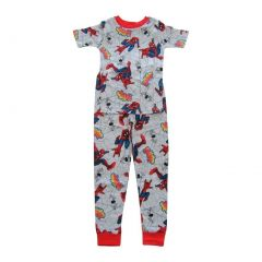 Marvel Big Boys Grey Red Spider-Man Short Sleeve Two Piece Pajama Set 4-8