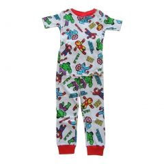 Marvel Big Boys White Spider-Man Short Sleeve Two Piece Pajama Set 4-10