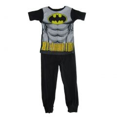 DC Comics Big Boys Black Gray Batman Cotton Short Sleeve Pajama Set 8-10