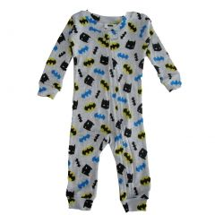 DC Comics Baby Boys Grey Batman Cotton Long Sleeve Sleeper Pajama 12-24M