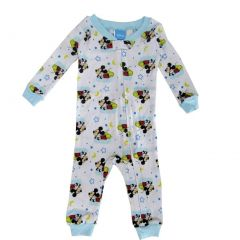 Disney Baby Boys White Sky Blue Mickey Mouse Long Sleeve Sleeper Pajama 12-24M