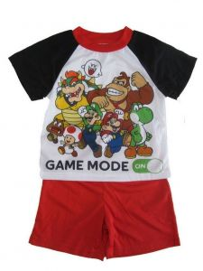 Super Mario Little Boys White Short Sleeve Pajama Set 4-6