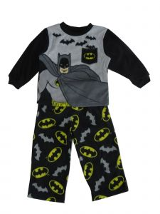 DC Comics Little Boys Black Gray Batman Print 2 Pc Sleepwear Set 2-4T