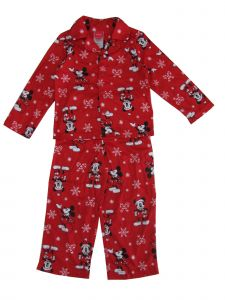 Disney Little Boys Red Mickey Mouse Print Button Down 2 Pc Pajama Set 4-6